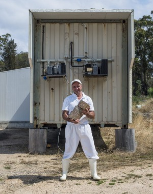 "Ian Fowler outside his Tasmanian cheese ""factory"" - a shipping container."