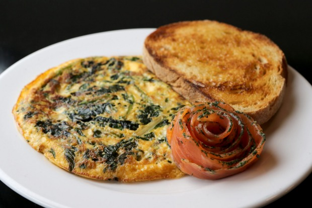 Collard greens omelette with smoked salmon rosette at Our Kitchenette.