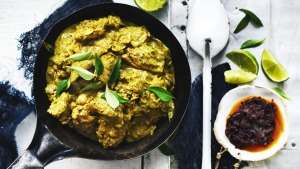 Sri Lankan chicken curry with onion sambal.