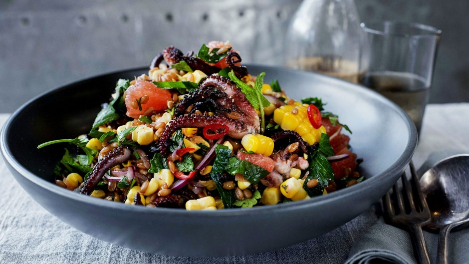 Charred octopus, corn and grapefruit salad. Photo: Christopher Pearce