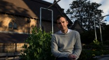 Rob Caslick at St Canice's rooftop garden, where they grow ingredients for Two Good.