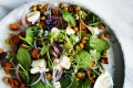 Pumpkin, spinach and roasted chickpea salad.