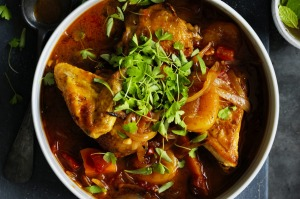 Adam Liaw's chicken tagine with mango chutney and apricot.