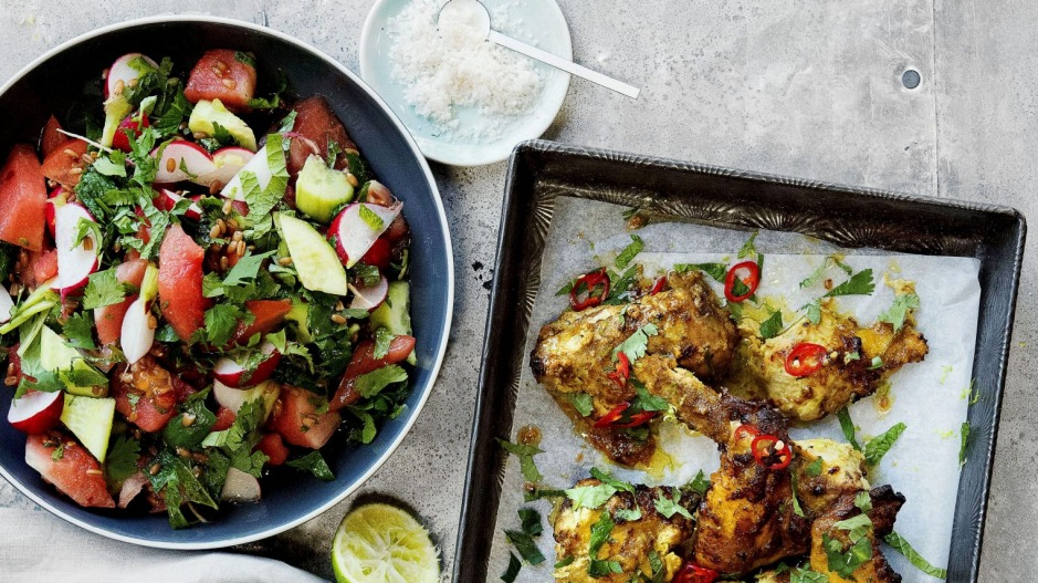 Serve this watermelon, spelt and radish salad with roast chicken.