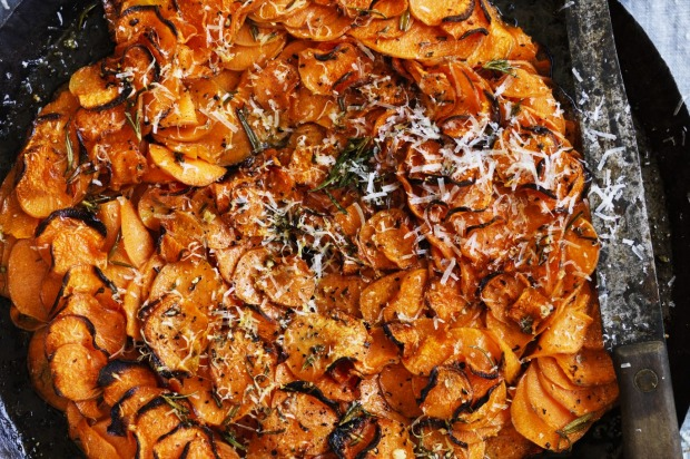 Sweet potato, garlic and rosemary gratin <a ...