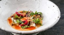 King George whiting with burnt orange puree and quandong at Vue de Monde.