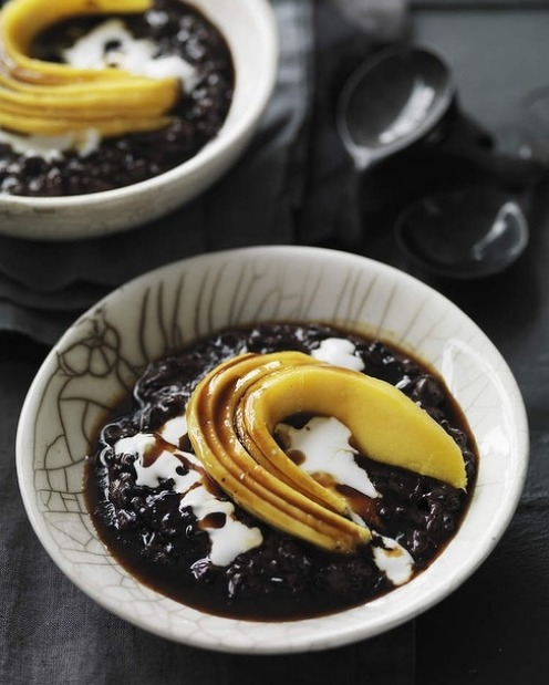 Neil Perry's black sticky rice with mango and coconut cream <a ...