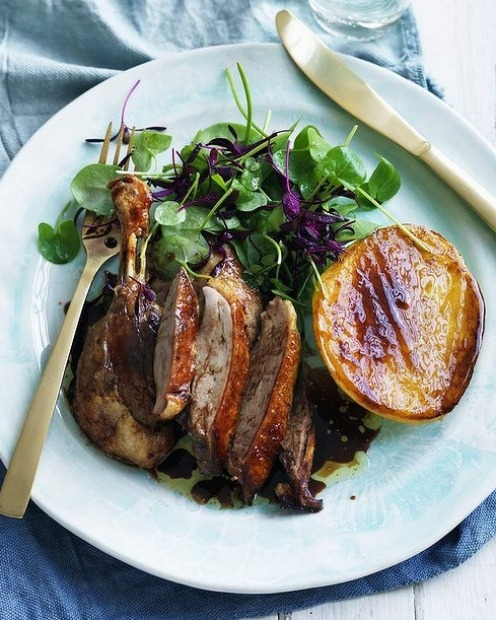 Pick up a Chinese roast duck and serve with grilled mango cheeks <a ...