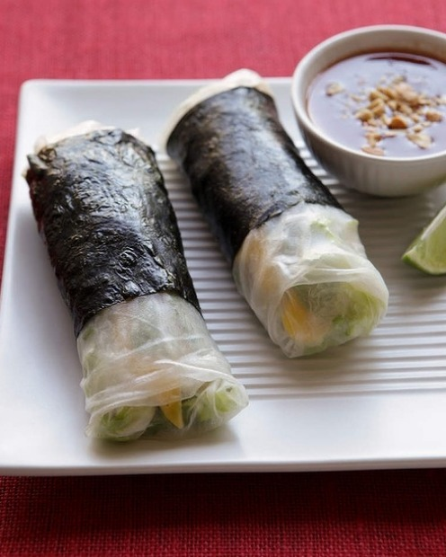 Rice paper and nori rolls filled with crab and mangoe <a ...