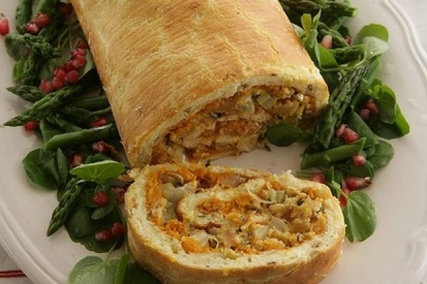 Savoury roulades were an impressive dinner table centrepiece. Here's a spicy pumpkin and pear version <a ...