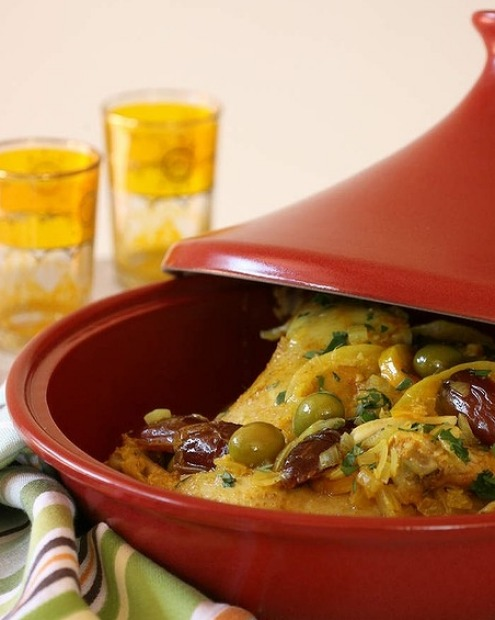 A citrus chicken tagine with fresh dates, green olives and lemons <a ...