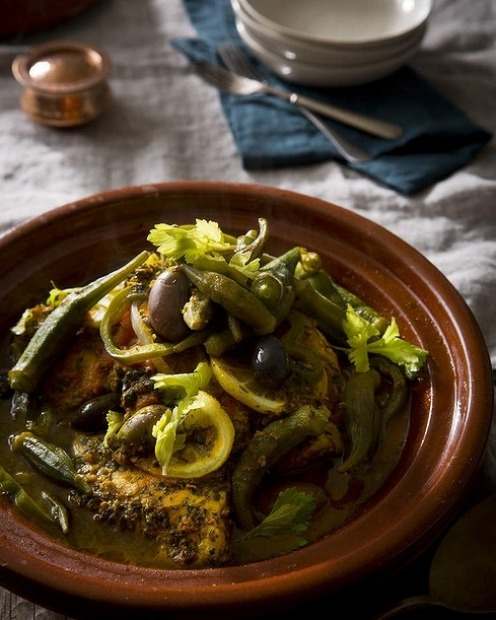 Karen Martini's blue-eye trevalla tagine with chermoula, olives and okra <a ...