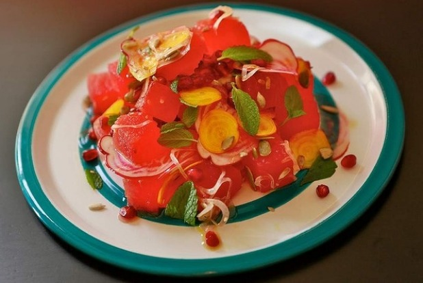 Fresh Mesa Verde's watermelon salad. Or try their ceviche with pickled peaches.