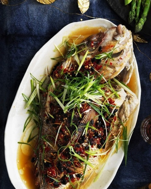 Barbecued snapper with black beans and salted chillies (prepare the chillies in advance) <a ...