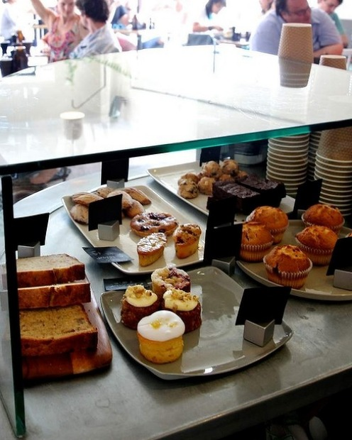 The pastry cabinet at Excelsior Jones in Ashfield.