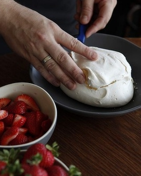 9. Kabboord's favoured method of making pavlova is to add passionfruit custard, fresh fruit and goat's curd. Step 1: ...