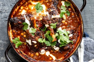 Curried lamb shanks.