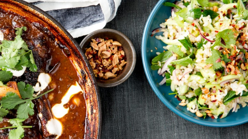 Spicy cucumber and peanut salad (with lamb shanks).