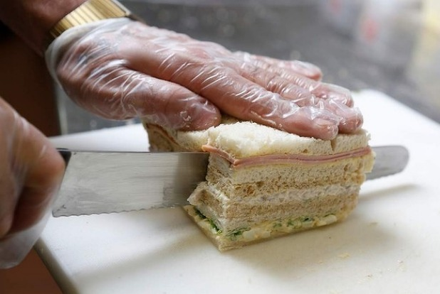 Tip: Each sandwich should be two fingers thick.