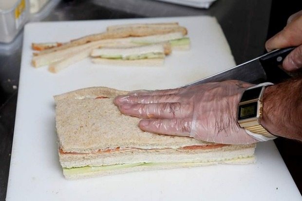 Tip: Be gentle and try not to press down on the bread when trimming the crusts.