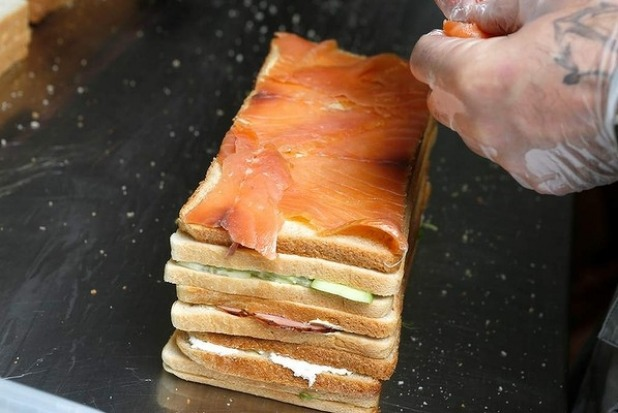 Tip: Be sure to overlap slices of salmon or ham, so that there aren't any gaps.