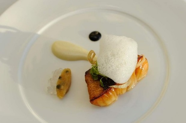 Degustation menu at Jacques Reymond. Course three.... John Dory, Szechuan pepper and smoked palm sugar, lemon and black ...