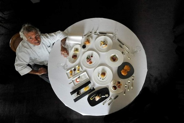 Jacques Reymond with all the dishes in his degustation menu.