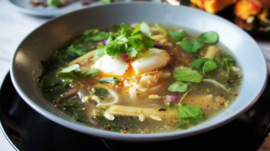 Aromatic Japanese-style chicken noodle broth.