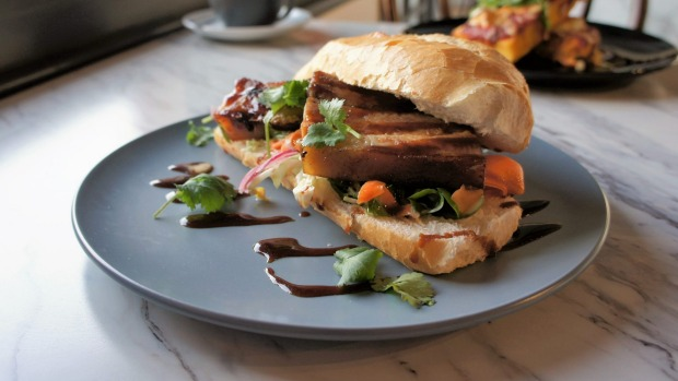 Twice-cooked pork belly roll.
