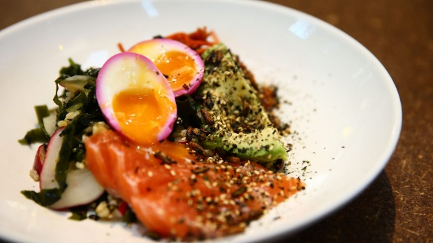 Hay-smoked salmon from Three Blue Ducks, Rosebery.
