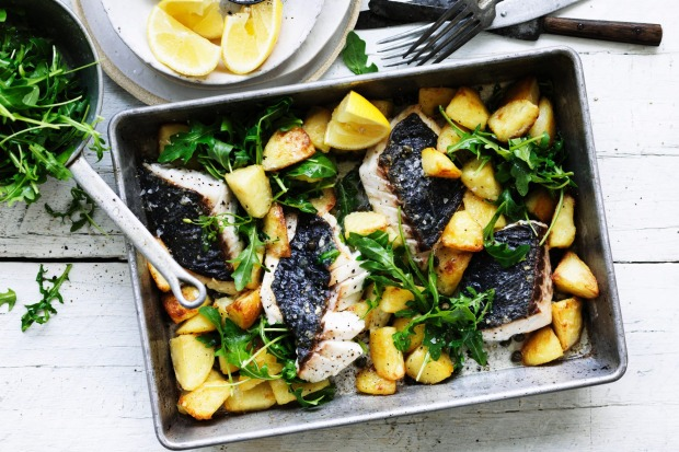 Roast hapuka with crispy potatoes and capers <a ...