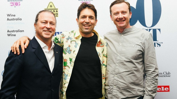 Neil Perry with Ben Shewry (centre) and Dan Hunter (right) at this year's World's 50 Best 'Chef's Feast' event in New York.