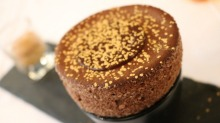 Chocolate sprinkled with gold dust, at Auberge Nicolas Flamel, a restaurant in the oldest house in Paris.