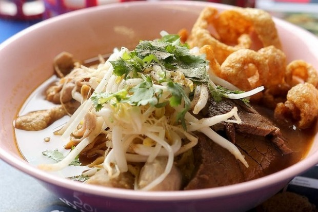 13 Beef boat noodles with egg noodles at Soi 38 in the CBD