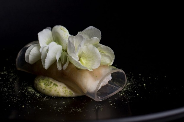 Spanner crab, sake vinegar jelly, brown butter emulsion, pea flower and horseradish from Sepia, Sydney.
