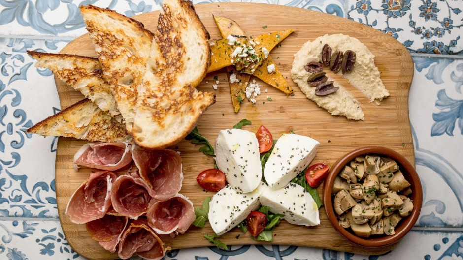 The antipasto plate at Salt Meats Cheese's Broadway branch.