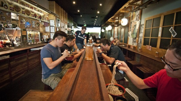 Get slurping: Sit up at a shared wooden table at Mappen Japanese Noodles.