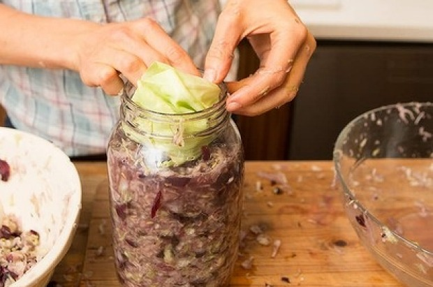 Place some cabbage leaves like a lid over top of the mixture; the vegetables should have no contact with the air.