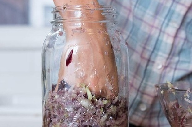 Place mixture into a jar or crock and press down firmly as you go.
