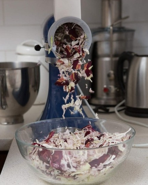 Alternatively, use a food processor or mandolin to get the cabbage and carrots sliced thinly.