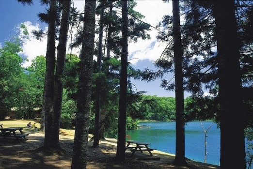 The scenic Lake Eacham in the Atherton Tablelands, North Queensland.