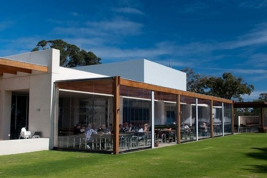 The Eagle Bay Brewing Co is perched on a rise overlooking a sheep and cattle property.