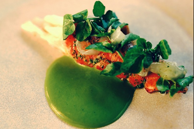 Marron, Geraldton wax and watercress from Orana, Adelaide.