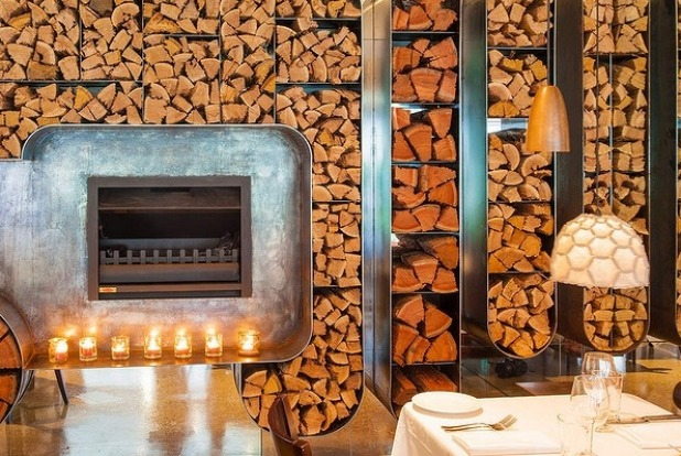 Woodfire Grill's walls are stockpiled with timber.