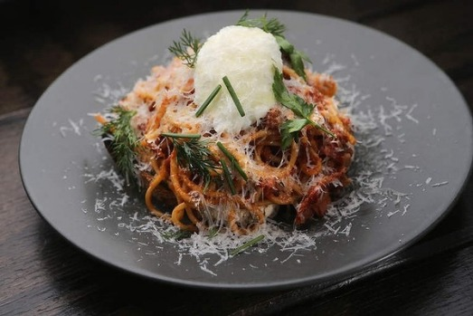 Spaghetti on toast is what you'll find on Gerard Phelan's inventive menu at Second Home in Eltham, Melbourne.