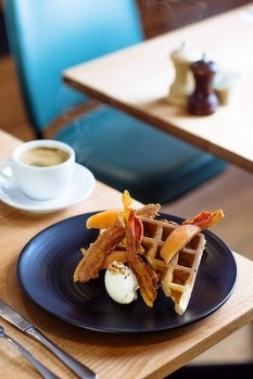 Get your waffle fix at Rudimentary in Melbourne's Footscray. Here, it comes beautifully propped by crisp pancetta, fruit ...