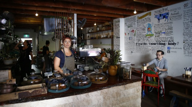 Ora cafe in Manly, where the feature wall tells a nutritious story.