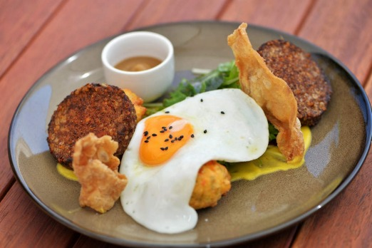 Spice-crusted white pudding with sweet corn fritters at Jack B Nimble in Maribyrnong.