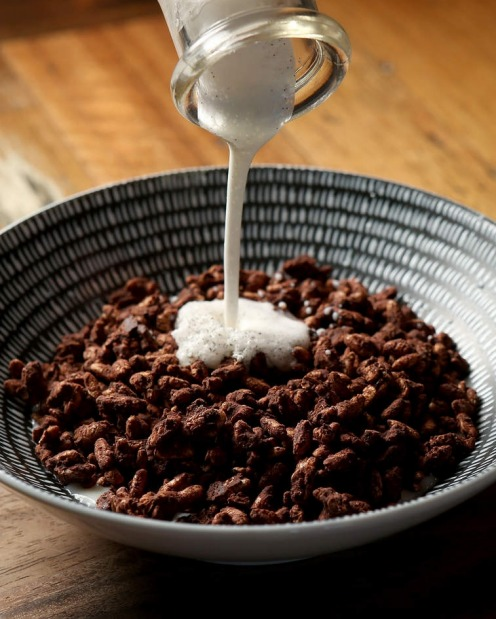 Corinthians' house-made puffed brown rice 'coco pops'.