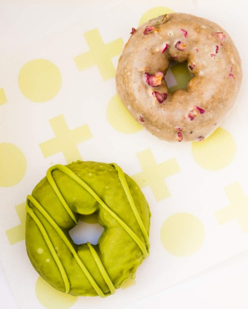 Triple matcha (front) and earl grey and rose doughnuts from Shortstop Coffee and Donuts in the CBD.